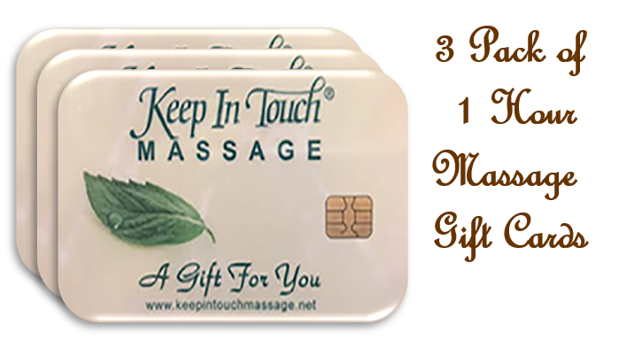 3 - Three Pack 60 Minute Massage Gift Cards & $25 Coupon
