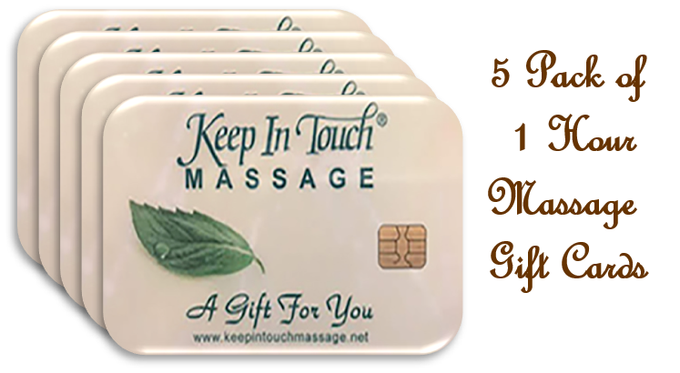 5 - Five Pack 60 Minute Massage Gift Cards & $45 Coupon